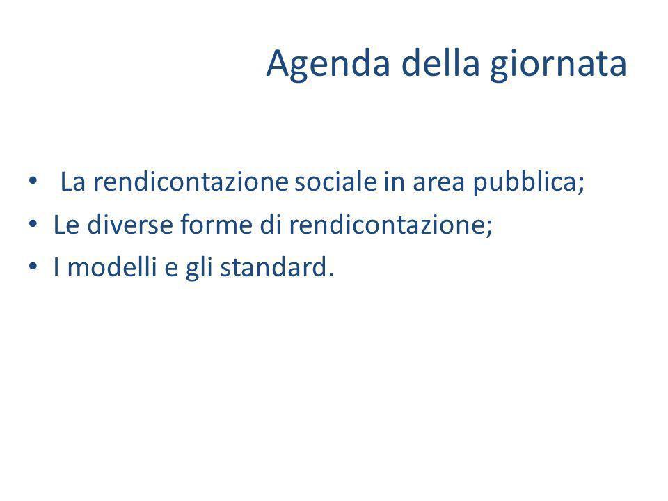 Agenda della giornata La rendicontazione sociale in area pubblica; Le diverse forme di rendicontazione; I modelli e gli standard.