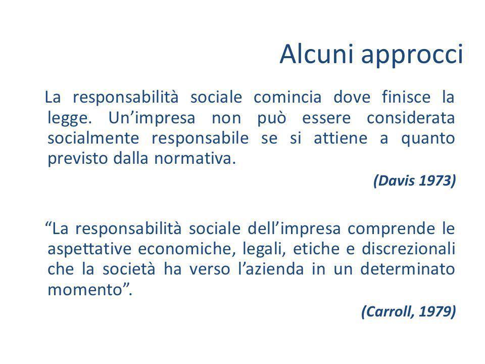 La responsabilità sociale comincia dove finisce la legge.