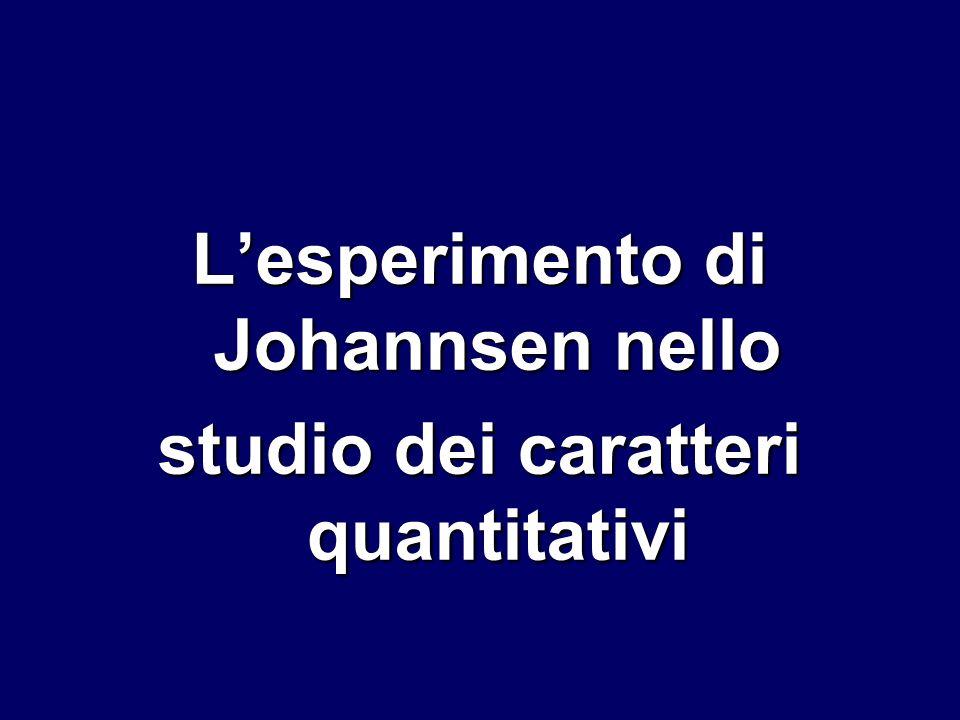 Lesperimento di Johannsen nello studio dei caratteri quantitativi