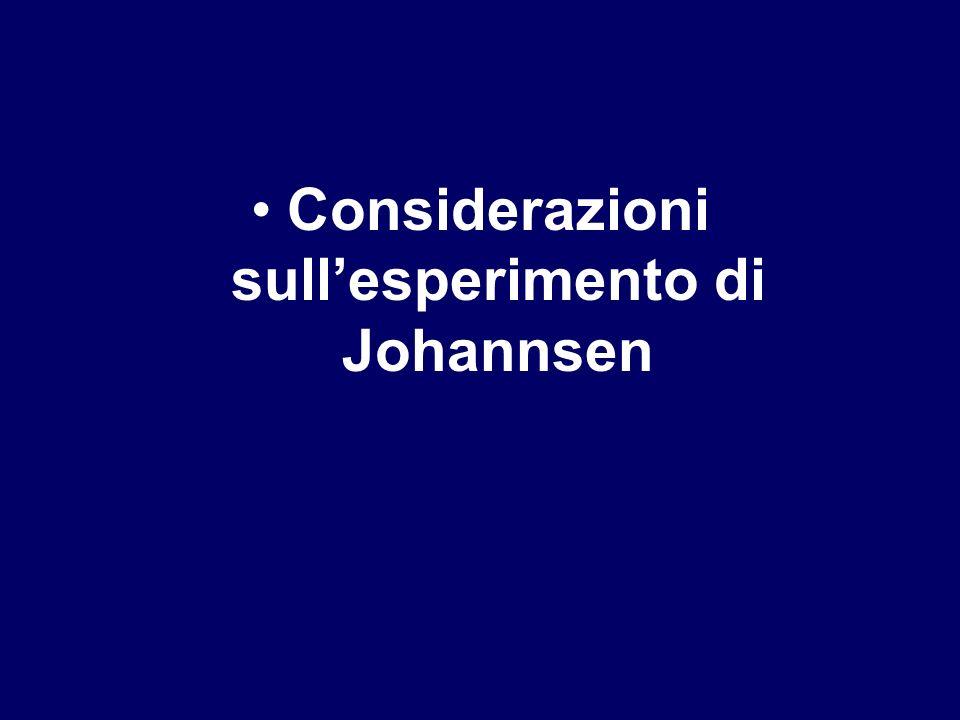 Considerazioni sullesperimento di Johannsen