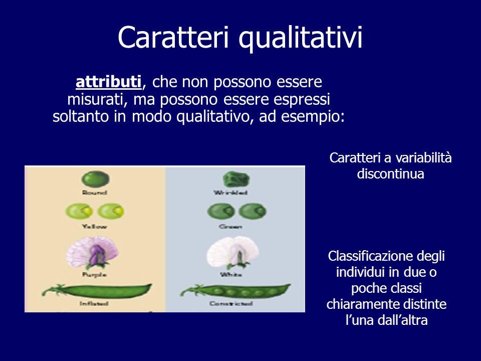 Caratteri qualitativi attributi, che non possono essere misurati, ma possono essere espressi soltanto in modo qualitativo, ad esempio: Classificazione