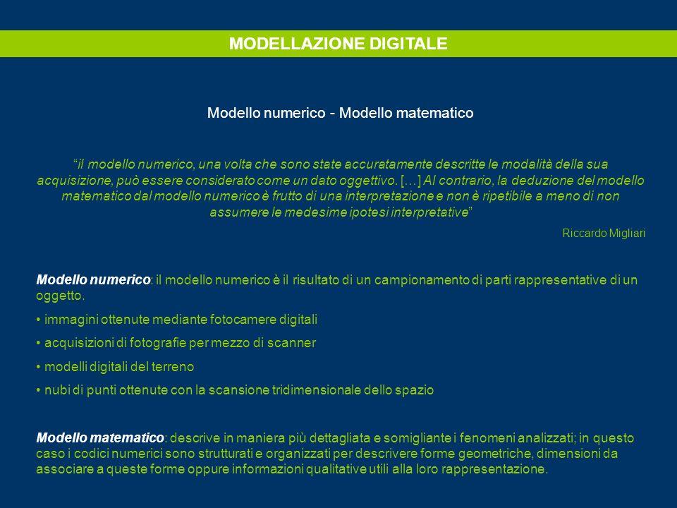 MODELLAZIONE DIGITALE Modello numerico - Modello matematico il modello numerico, una volta che sono state accuratamente descritte le modalità della su