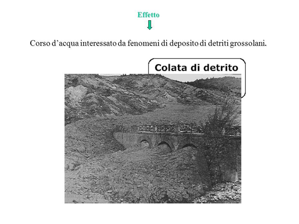 Effetto Corso dacqua interessato da fenomeni di deposito di detriti grossolani.