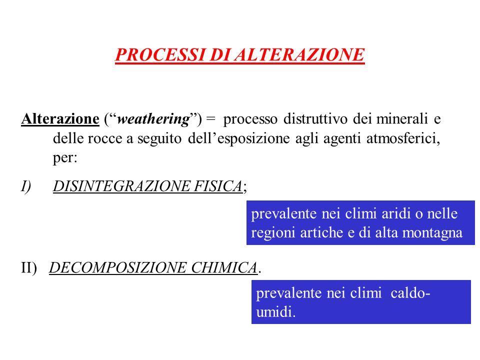 PROCESSI DI ALTERAZIONE Alterazione (weathering) = processo distruttivo dei minerali e delle rocce a seguito dellesposizione agli agenti atmosferici,