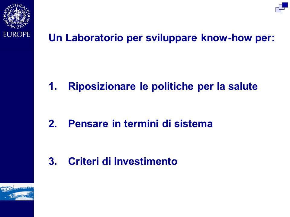 Un Laboratorio per sviluppare know-how per: 1.Riposizionare le politiche per la salute 2.Pensare in termini di sistema 3.Criteri di Investimento