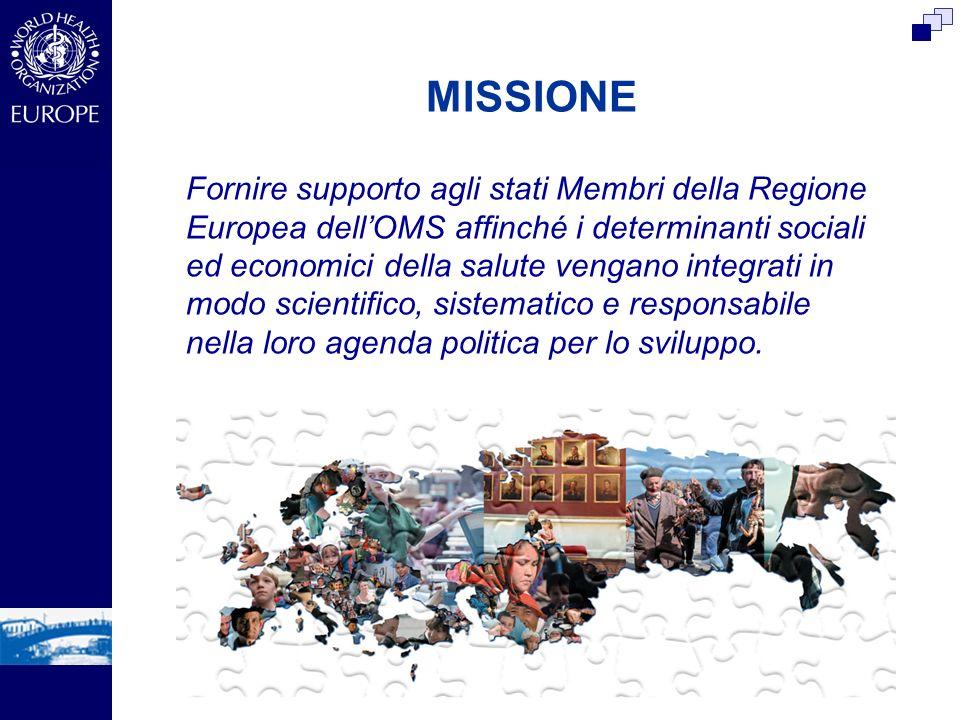 MISSIONE Fornire supporto agli stati Membri della Regione Europea dellOMS affinché i determinanti sociali ed economici della salute vengano integrati