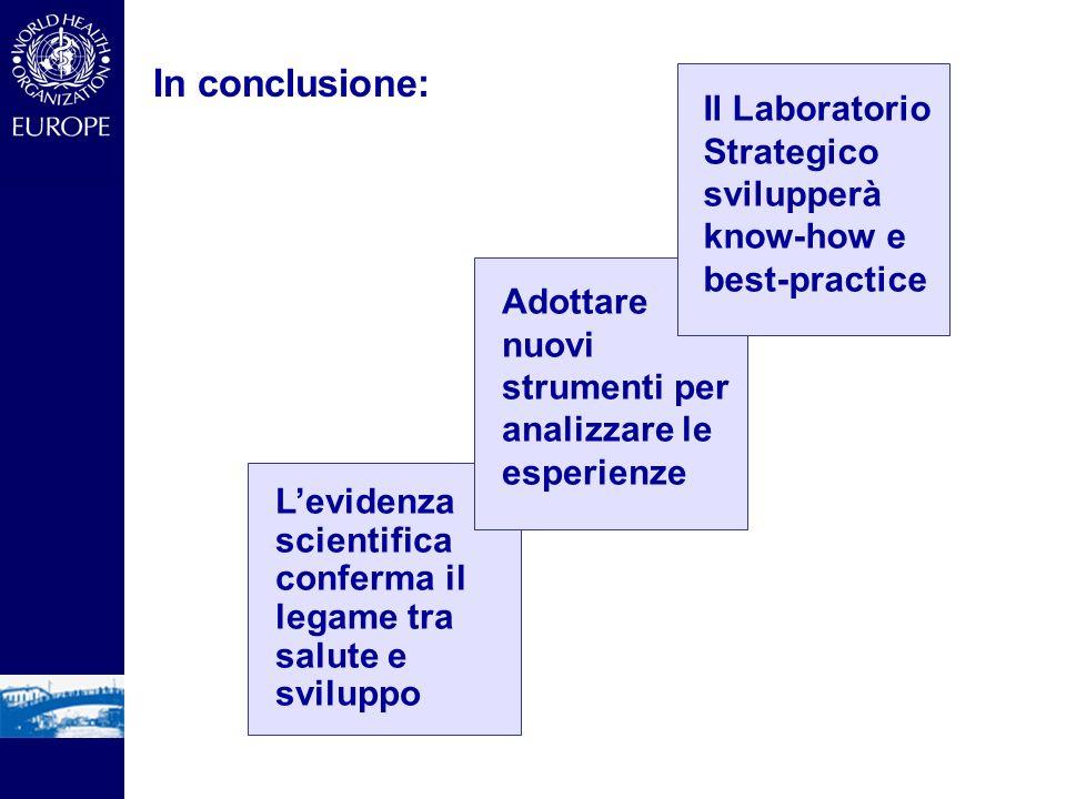 In conclusione: Adottare nuovi strumenti per analizzare le esperienze Levidenza scientifica conferma il legame tra salute e sviluppo Il Laboratorio Strategico svilupperà know-how e best-practice
