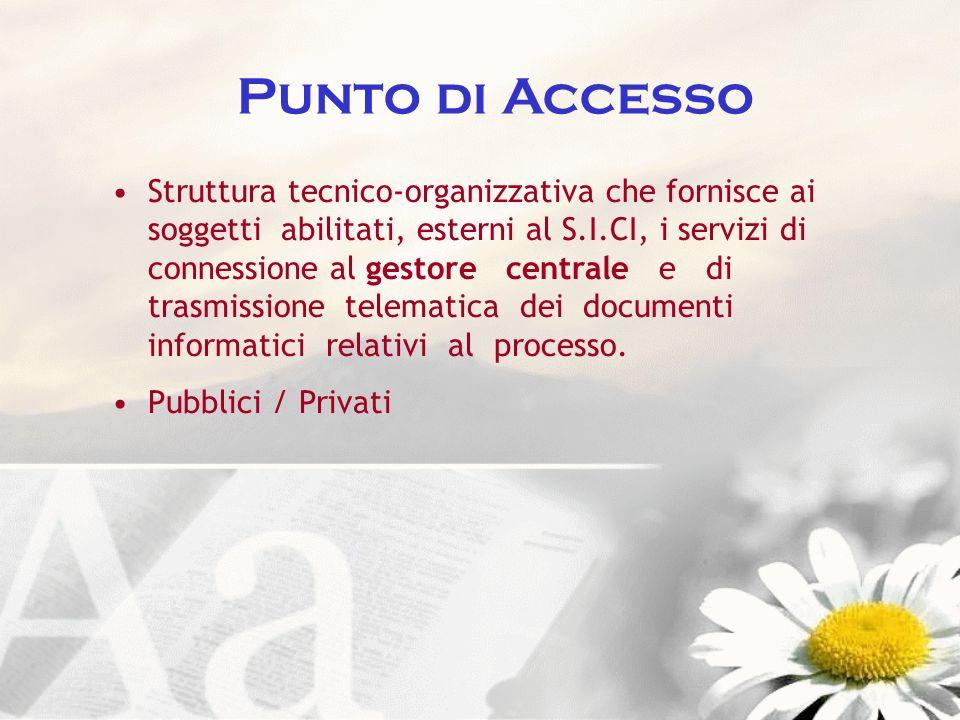 Punto di Accesso Struttura tecnico-organizzativa che fornisce ai soggetti abilitati, esterni al S.I.CI, i servizi di connessione al gestore centrale e