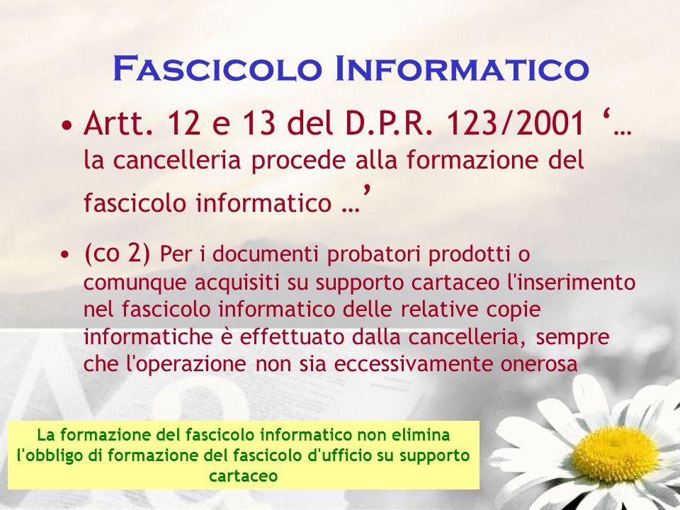 Fascicolo Informatico Artt. 12 e 13 del D.P.R. 123/2001 … la cancelleria procede alla formazione del fascicolo informatico … (co 2) Per i documenti pr