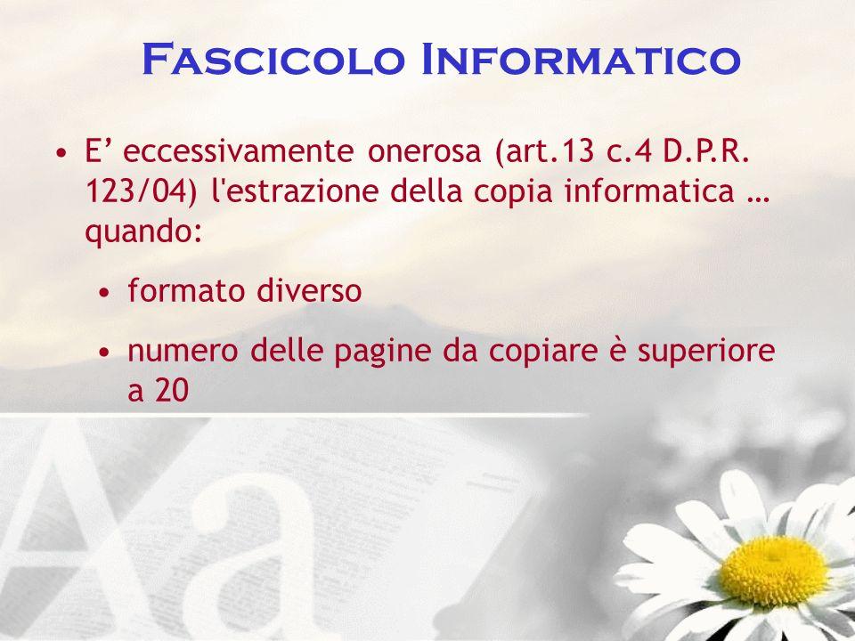 Fascicolo Informatico E eccessivamente onerosa (art.13 c.4 D.P.R. 123/04) l'estrazione della copia informatica … quando: formato diverso numero delle