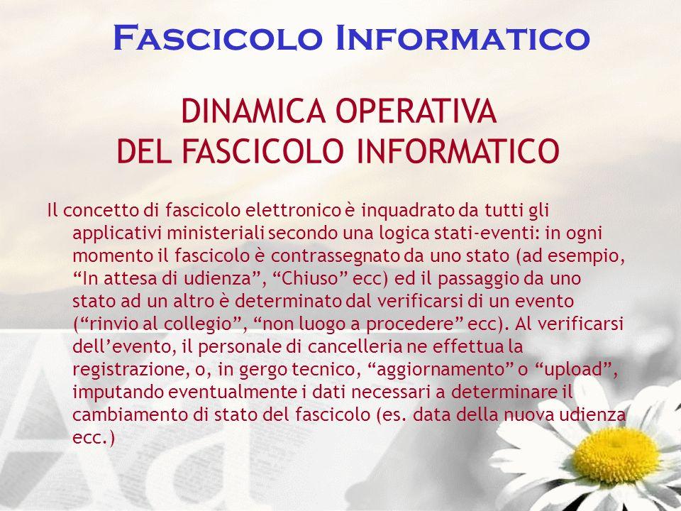 Fascicolo Informatico DINAMICA OPERATIVA DEL FASCICOLO INFORMATICO Il concetto di fascicolo elettronico è inquadrato da tutti gli applicativi minister