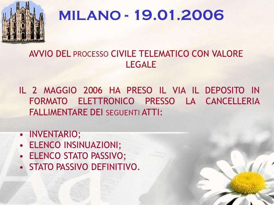 MILANO - 19.01.2006 AVVIO DEL PROCESSO CIVILE TELEMATICO CON VALORE LEGALE IL 2 MAGGIO 2006 HA PRESO IL VIA IL DEPOSITO IN FORMATO ELETTRONICO PRESSO