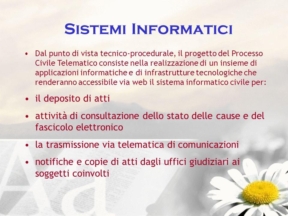 Sistemi Informatici Dal punto di vista tecnico-procedurale, il progetto del Processo Civile Telematico consiste nella realizzazione di un insieme di a