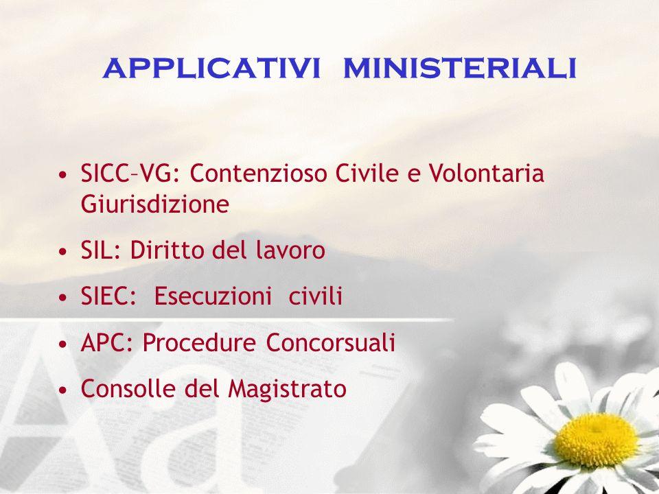 applicativi ministeriali SICC–VG: Contenzioso Civile e Volontaria Giurisdizione SIL: Diritto del lavoro SIEC: Esecuzioni civili APC: Procedure Concors