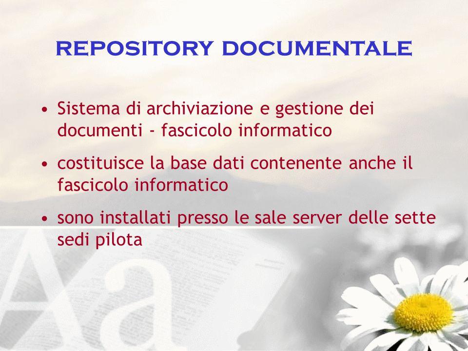 repository documentale Sistema di archiviazione e gestione dei documenti - fascicolo informatico costituisce la base dati contenente anche il fascicol