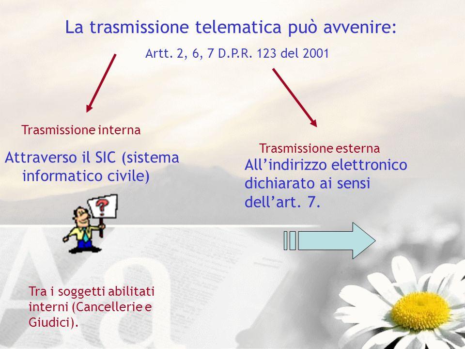 La trasmissione telematica può avvenire: Artt. 2, 6, 7 D.P.R. 123 del 2001 Attraverso il SIC (sistema informatico civile) Tra i soggetti abilitati int