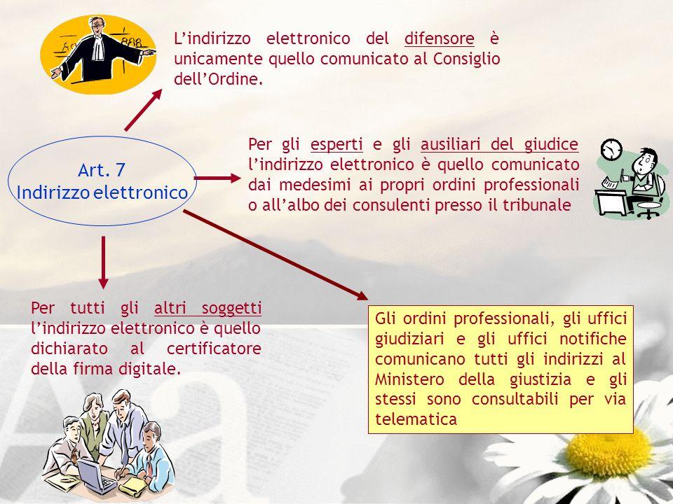 Lindirizzo elettronico del difensore è unicamente quello comunicato al Consiglio dellOrdine. Per gli esperti e gli ausiliari del giudice lindirizzo el
