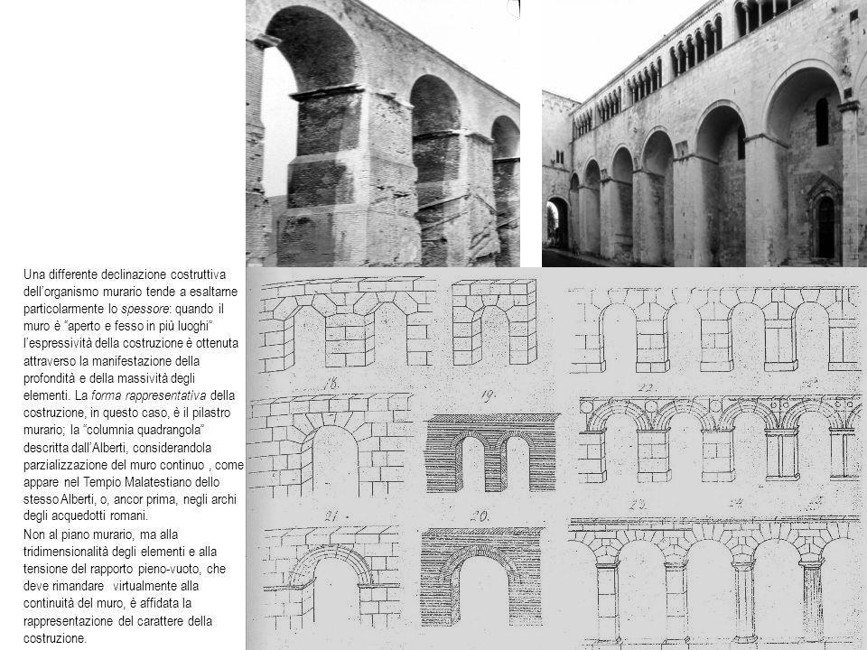Una differente declinazione costruttiva dellorganismo murario tende a esaltarne particolarmente lo spessore : quando il muro è aperto e fesso in più l
