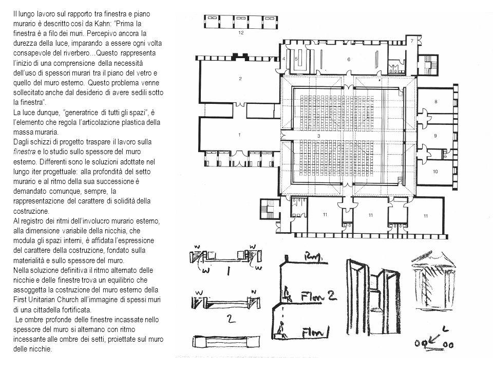 Il lungo lavoro sul rapporto tra finestra e piano murario è descritto così da Kahn: Prima la finestra è a filo dei muri. Percepivo ancora la durezza d