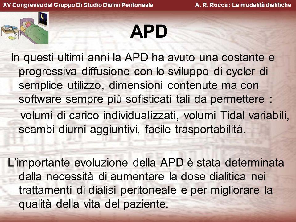 XV Congresso del Gruppo Di Studio Dialisi Peritoneale A. R. Rocca : Le modalità dialitiche In questi ultimi anni la APD ha avuto una costante e progre