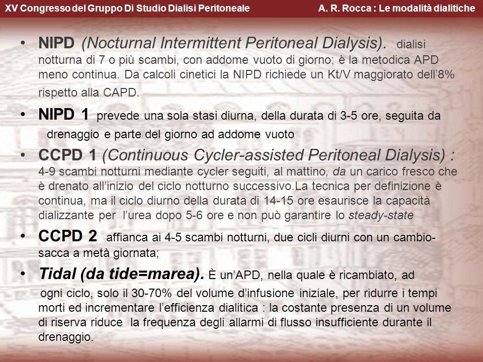 XV Congresso del Gruppo Di Studio Dialisi Peritoneale A. R. Rocca : Le modalità dialitiche NIPD (Nocturnal Intermittent Peritoneal Dialysis). dialisi
