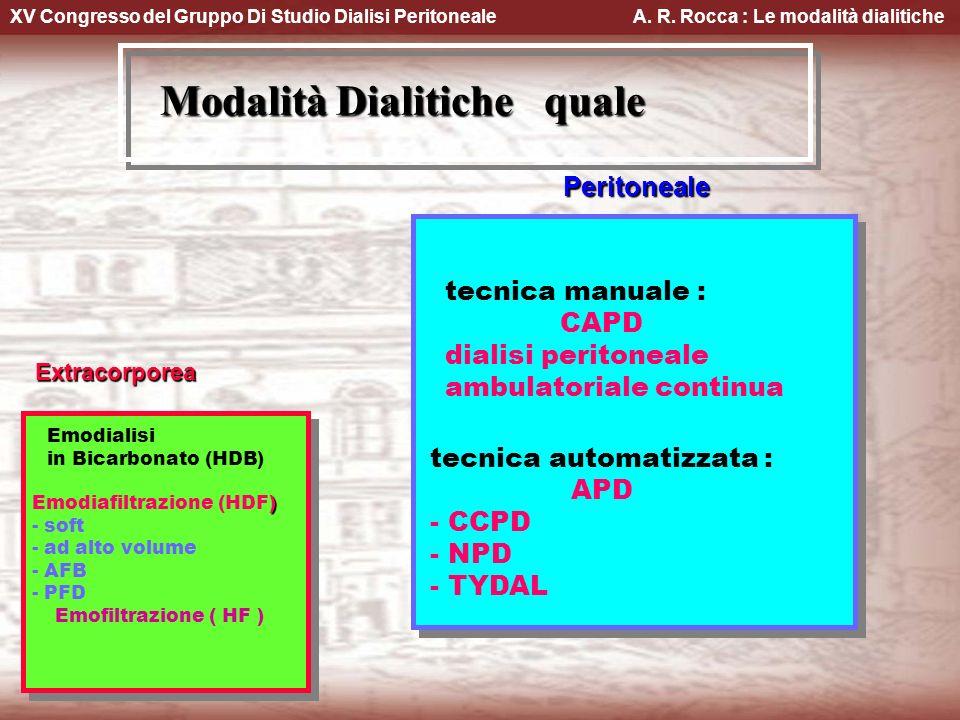 XV Congresso del Gruppo Di Studio Dialisi Peritoneale A. R. Rocca : Le modalità dialitiche Modalità Dialitiche quale Extracorporea Emodialisi in Bicar