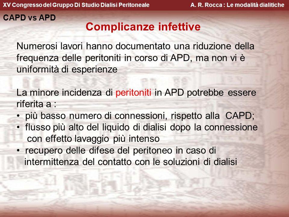 XV Congresso del Gruppo Di Studio Dialisi Peritoneale A. R. Rocca : Le modalità dialitiche CAPD vs APD Complicanze infettive Numerosi lavori hanno doc