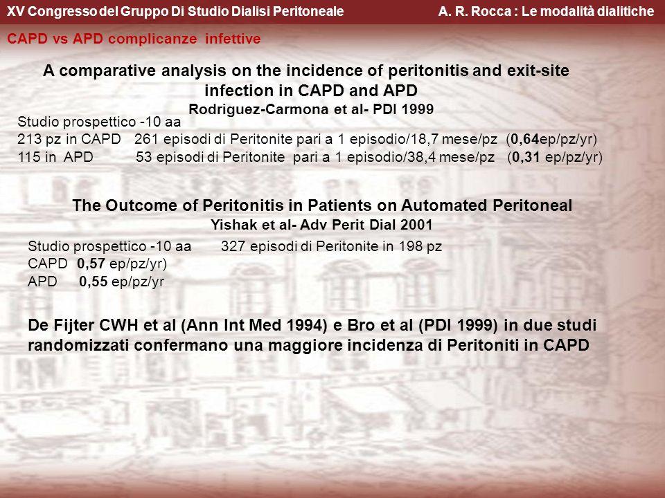 XV Congresso del Gruppo Di Studio Dialisi Peritoneale A. R. Rocca : Le modalità dialitiche CAPD vs APD complicanze infettive A comparative analysis on