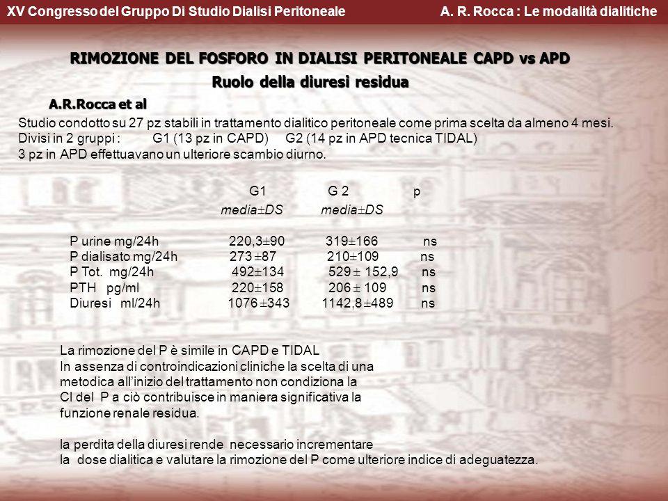 XV Congresso del Gruppo Di Studio Dialisi Peritoneale A. R. Rocca : Le modalità dialitiche RIMOZIONE DEL FOSFORO IN DIALISI PERITONEALE CAPD vs APD RI