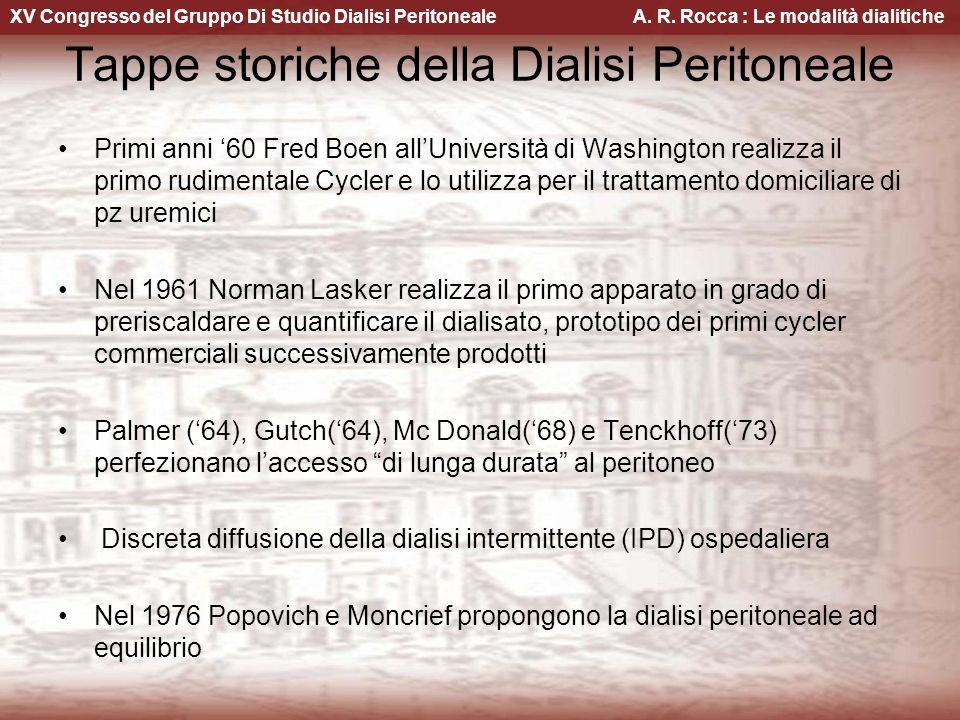 XV Congresso del Gruppo Di Studio Dialisi Peritoneale A. R. Rocca : Le modalità dialitiche Tappe storiche della Dialisi Peritoneale Primi anni 60 Fred