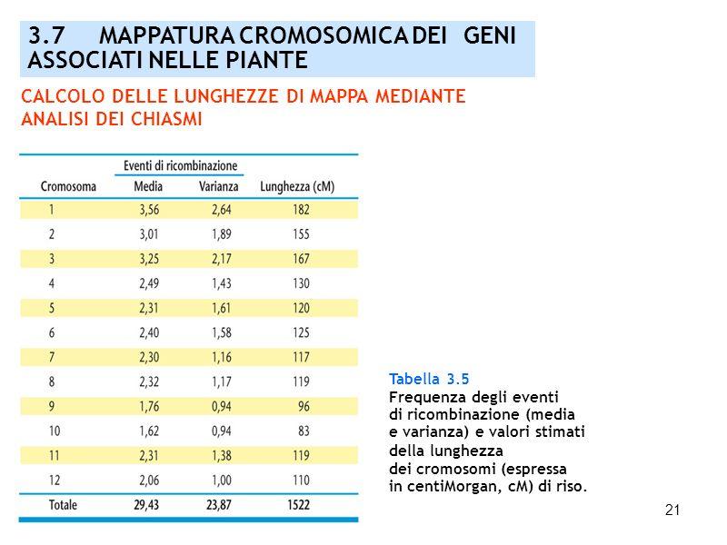 21 3.7 MAPPATURA CROMOSOMICA DEI GENI ASSOCIATI NELLE PIANTE Tabella 3.5 Frequenza degli eventi di ricombinazione (media e varianza) e valori stimati