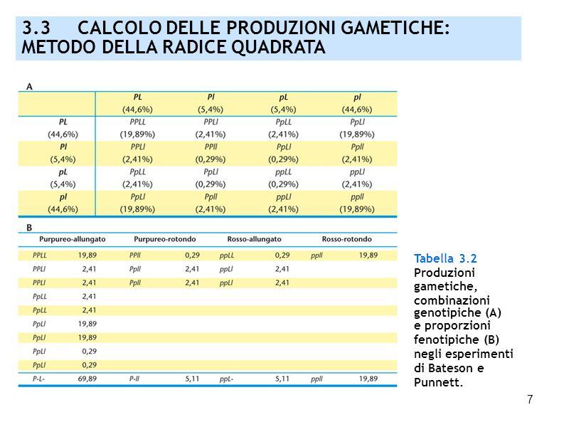 7 Tabella 3.2 Produzioni gametiche, combinazioni genotipiche (A) e proporzioni fenotipiche (B) negli esperimenti di Bateson e Punnett. 3.3 CALCOLO DEL