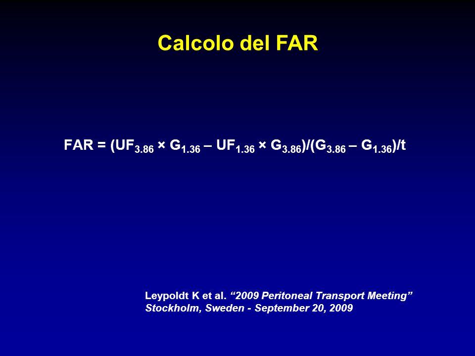 FAR = (UF 3.86 × G 1.36 – UF 1.36 × G 3.86 )/(G 3.86 – G 1.36 )/t Leypoldt K et al. 2009 Peritoneal Transport Meeting Stockholm, Sweden - September 20