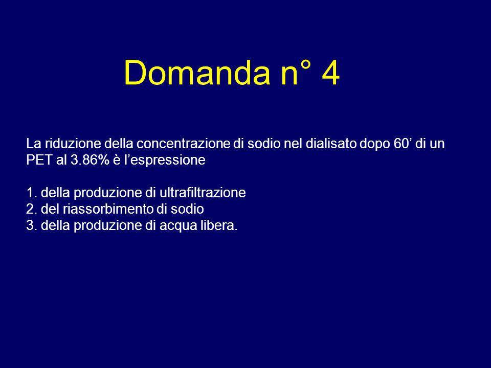 Domanda n° 4 La riduzione della concentrazione di sodio nel dialisato dopo 60 di un PET al 3.86% è lespressione 1. della produzione di ultrafiltrazion