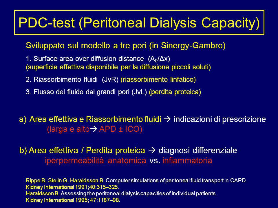 PDC-test (Peritoneal Dialysis Capacity) Sviluppato sul modello a tre pori (in Sinergy-Gambro) 1. Surface area over diffusion distance (A 0 /Δx) (super
