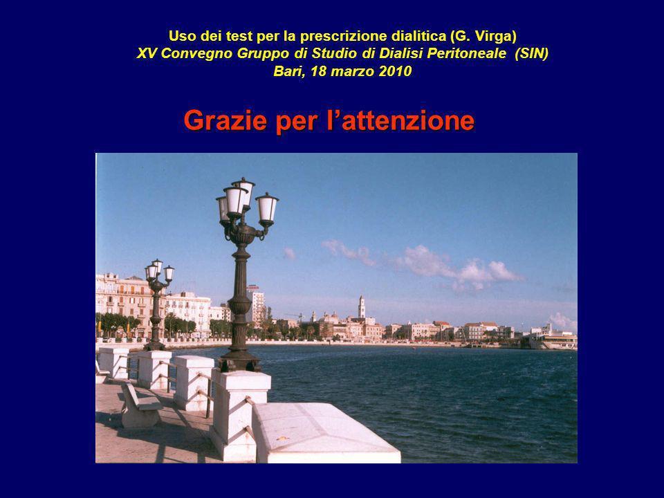 Uso dei test per la prescrizione dialitica (G. Virga) XV Convegno Gruppo di Studio di Dialisi Peritoneale (SIN) Bari, 18 marzo 2010 Grazie per lattenz