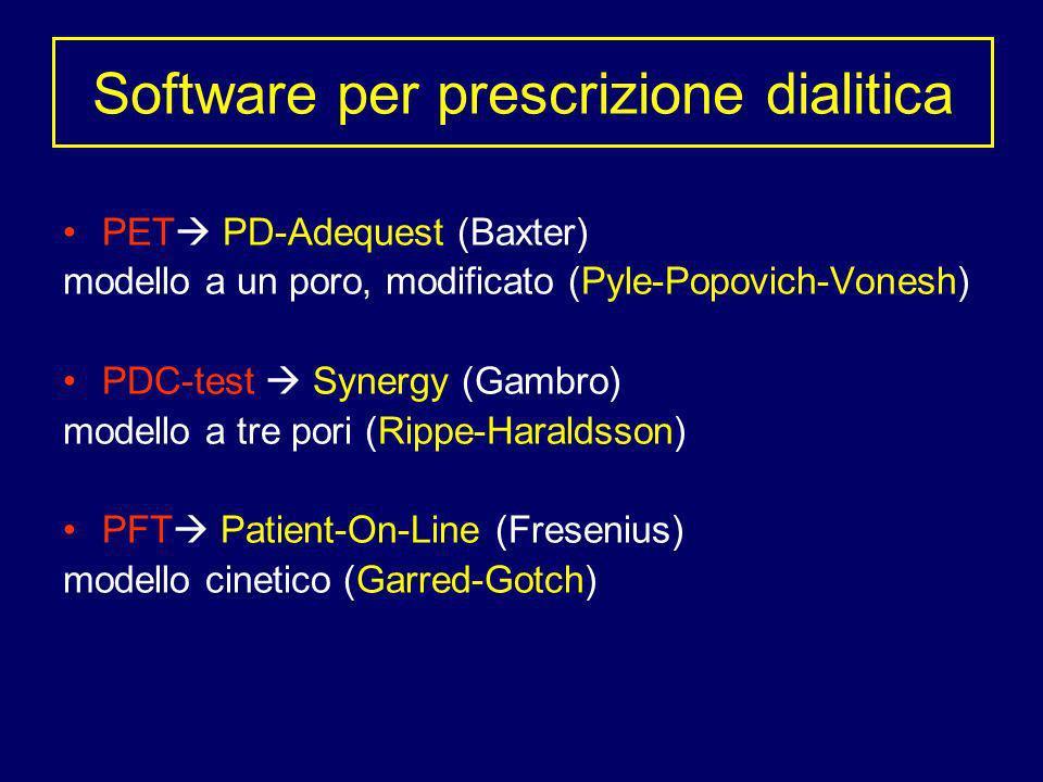 PET PD-Adequest (Baxter) modello a un poro, modificato (Pyle-Popovich-Vonesh) PDC-test Synergy (Gambro) modello a tre pori (Rippe-Haraldsson) PFT Pati