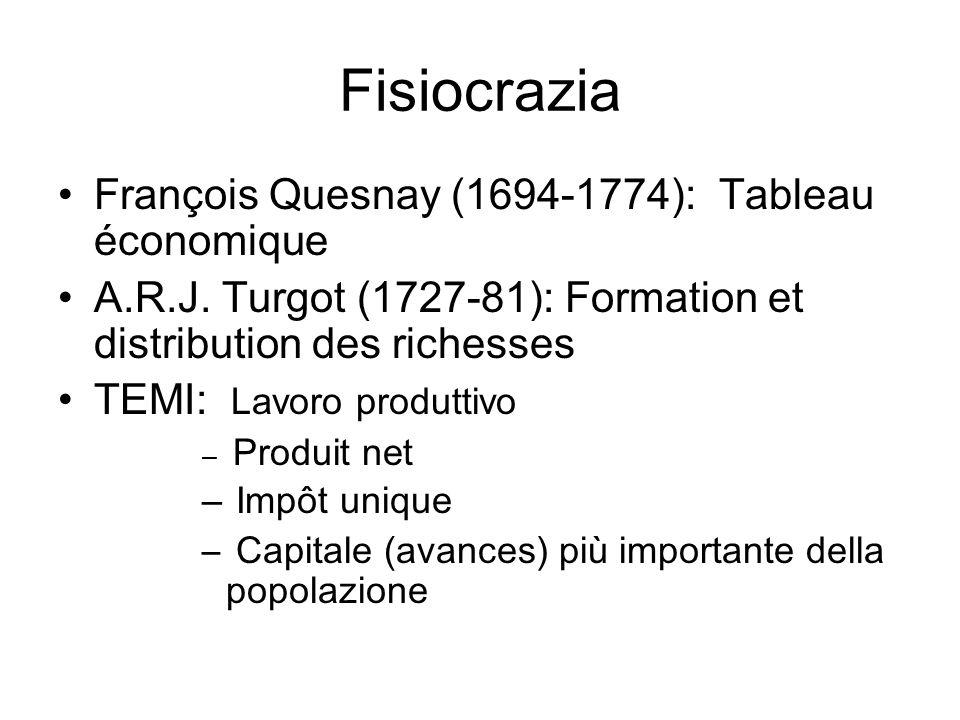 Fisiocrazia François Quesnay (1694-1774): Tableau économique A.R.J. Turgot (1727-81): Formation et distribution des richesses TEMI: Lavoro produttivo