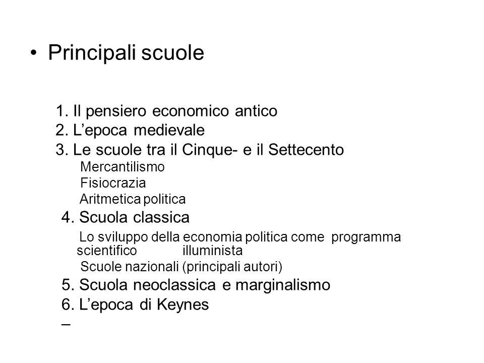 Principali scuole 1. Il pensiero economico antico 2. Lepoca medievale 3. Le scuole tra il Cinque- e il Settecento Mercantilismo Fisiocrazia Aritmetica