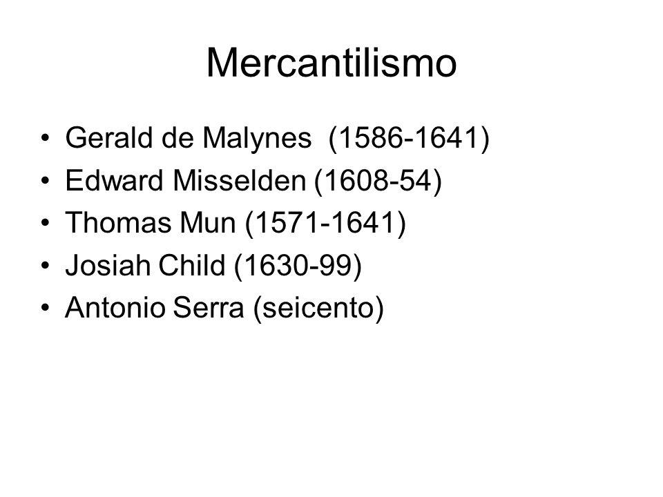 Mercantilismo Gerald de Malynes (1586-1641) Edward Misselden (1608-54) Thomas Mun (1571-1641) Josiah Child (1630-99) Antonio Serra (seicento)