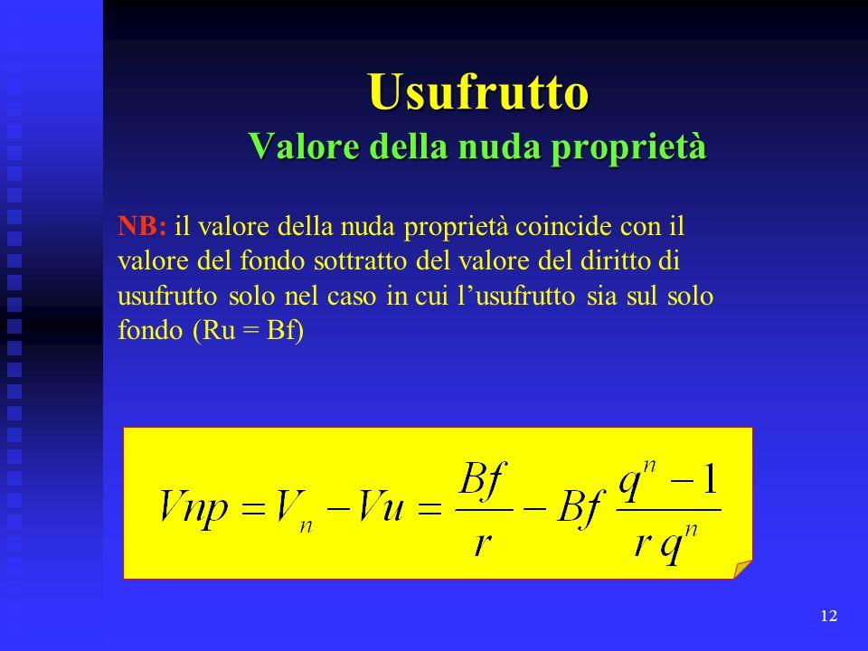 12 Usufrutto Valore della nuda proprietà NB: il valore della nuda proprietà coincide con il valore del fondo sottratto del valore del diritto di usufr