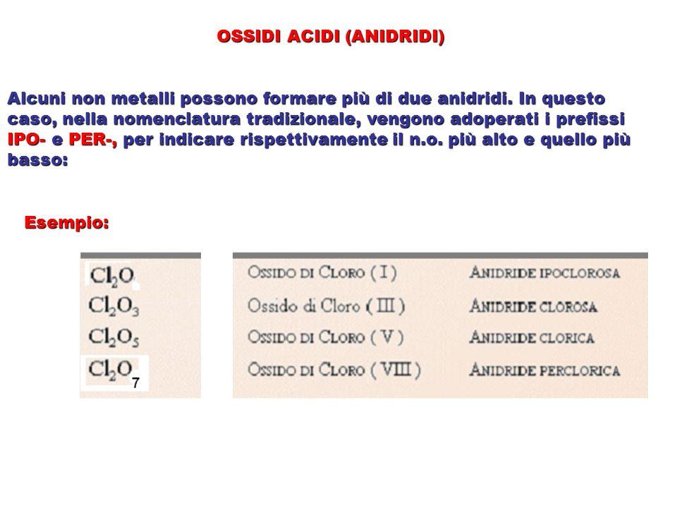 OSSIDI ACIDI (ANIDRIDI) Alcuni non metalli possono formare più di due anidridi. In questo caso, nella nomenclatura tradizionale, vengono adoperati i p