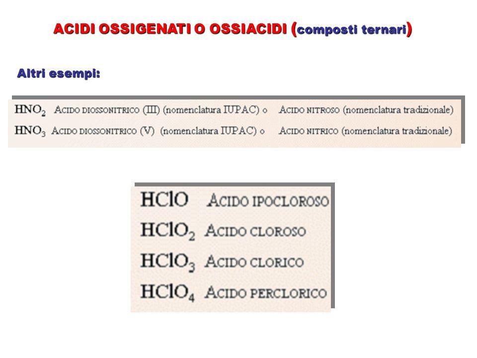 ACIDI OSSIGENATI O OSSIACIDI ( composti ternari ) Altri esempi: