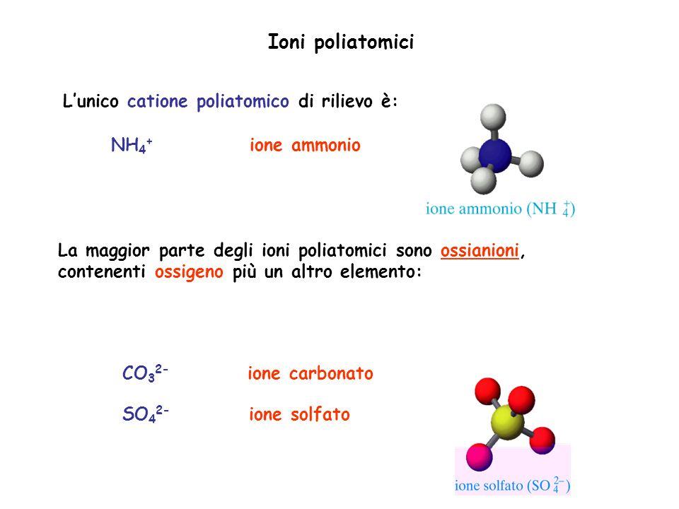 Ioni poliatomici Lunico catione poliatomico di rilievo è: NH 4 + ione ammonio La maggior parte degli ioni poliatomici sono ossianioni, contenenti ossi