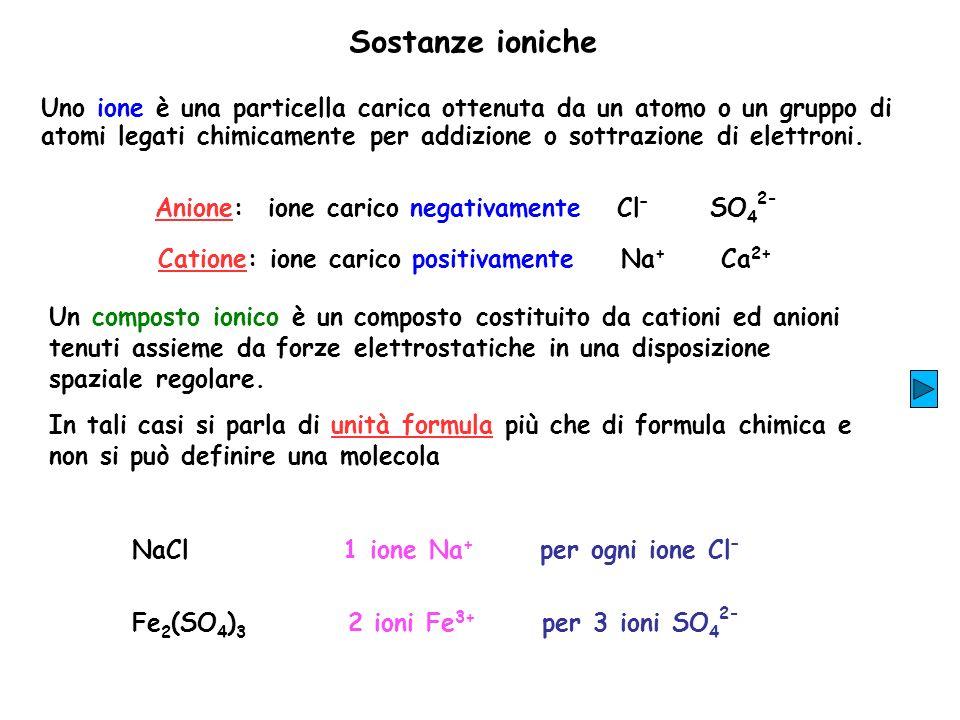 Sostanze ioniche Uno ione è una particella carica ottenuta da un atomo o un gruppo di atomi legati chimicamente per addizione o sottrazione di elettro