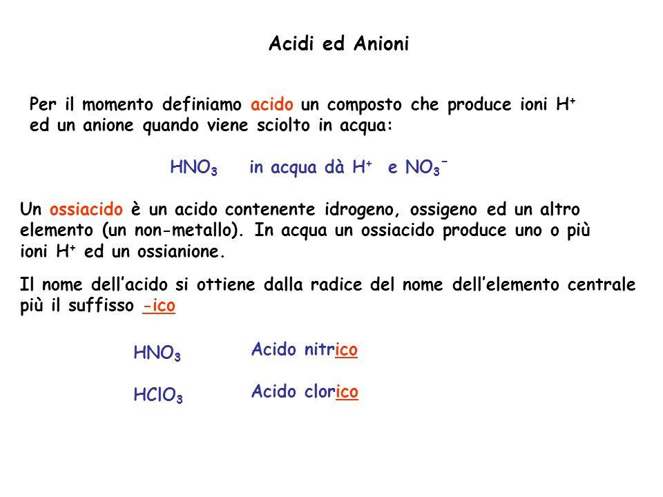 Acidi ed Anioni Per il momento definiamo acido un composto che produce ioni H + ed un anione quando viene sciolto in acqua: HNO 3 in acqua dà H + e NO