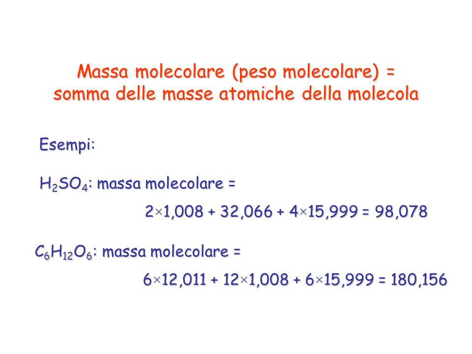 Massa molecolare (peso molecolare) = somma delle masse atomiche della molecola H 2 SO 4 : massa molecolare = 2×1,008 + 32,066 + 4×15,999 = 98,078 Esem