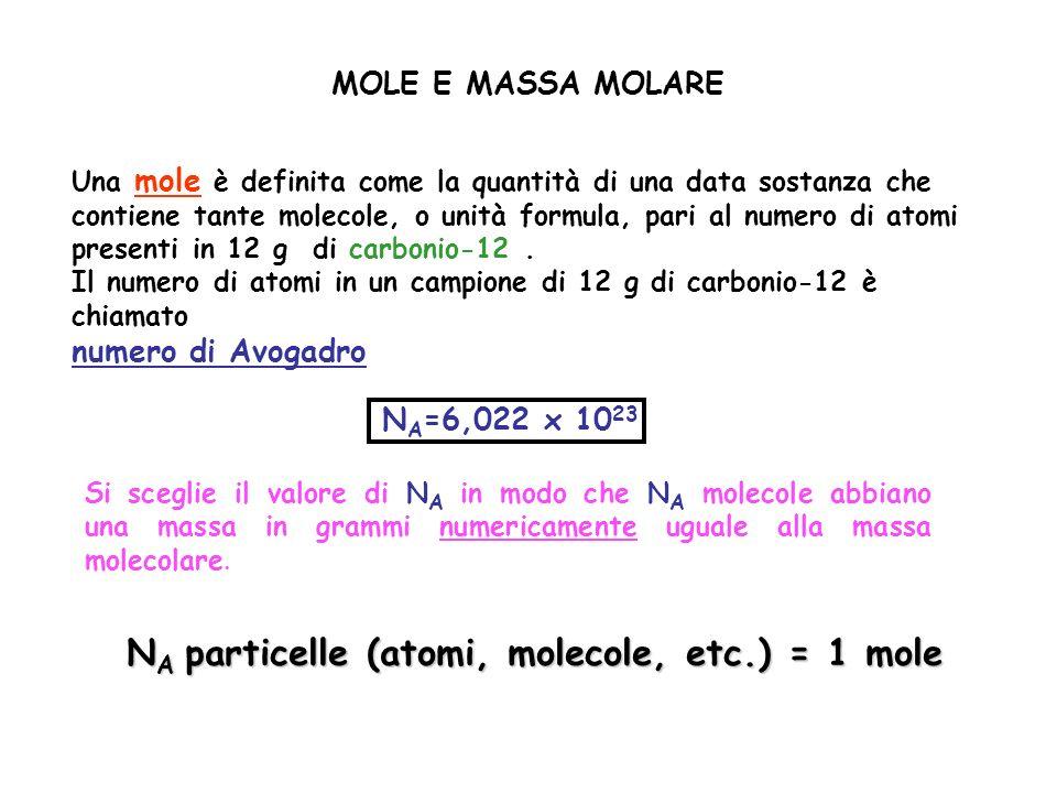 MOLE E MASSA MOLARE Una mole è definita come la quantità di una data sostanza che contiene tante molecole, o unità formula, pari al numero di atomi pr