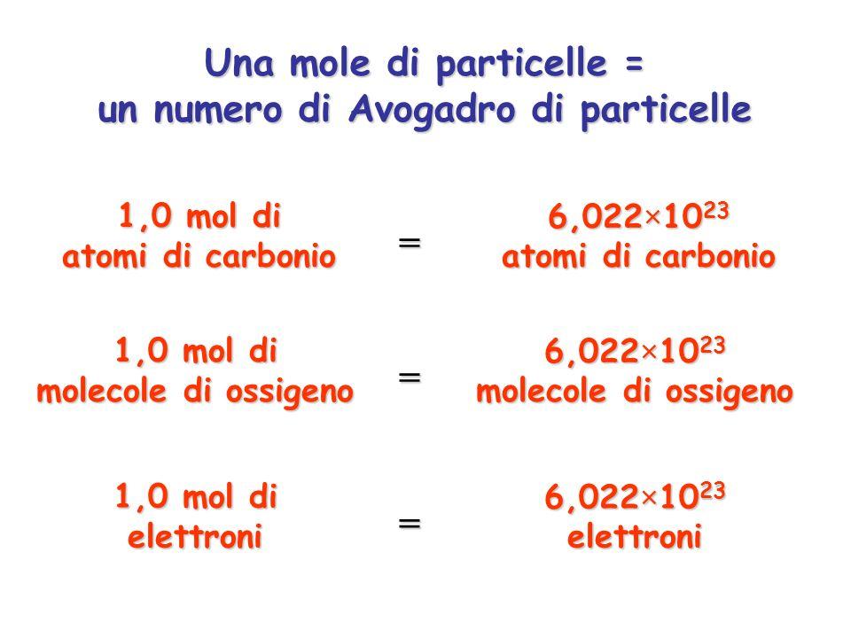 Una mole di particelle = un numero di Avogadro di particelle 1,0 mol di atomi di carbonio 6,022×10 23 atomi di carbonio = 1,0 mol di molecole di ossig