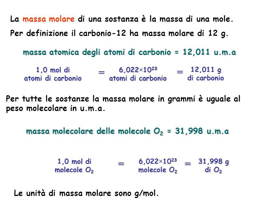 Per tutte le sostanze la massa molare in grammi è uguale al peso molecolare in u.m.a. massa atomica degli atomi di carbonio = 12,011 u.m.a La massa mo